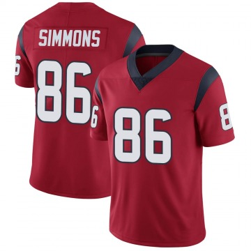Youth Nike Houston Texans Tyler Simmons Red Alternate Vapor Untouchable Jersey - Limited